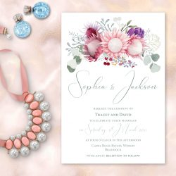protea floral wedding invitation