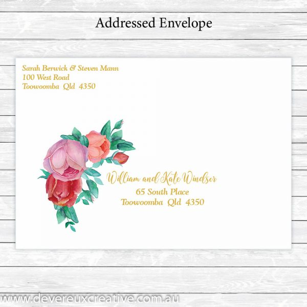 antique roses and gold addressed wedding envelope personalised