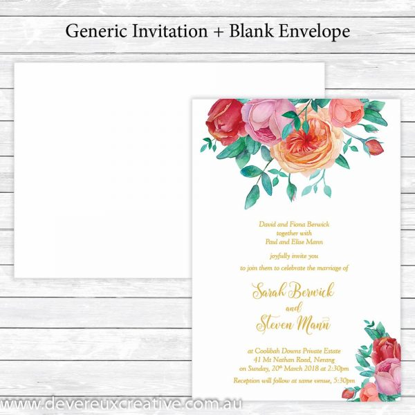 antique roses and gold wedding invitation generic