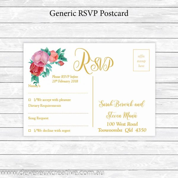antique roses and gold rsvp postcard personalised
