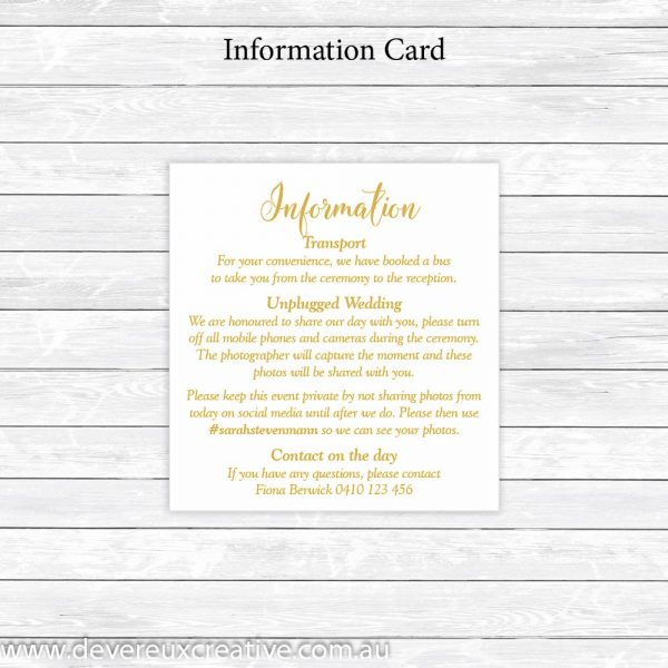 antique roses and gold information cards