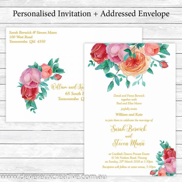 antique roses and gold wedding invitations personalised