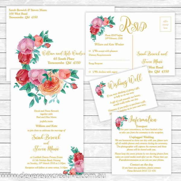 antique roses and gold wedding invitation package