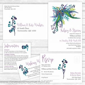 australian native wedding invitation package