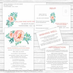 peony wedding invitation package