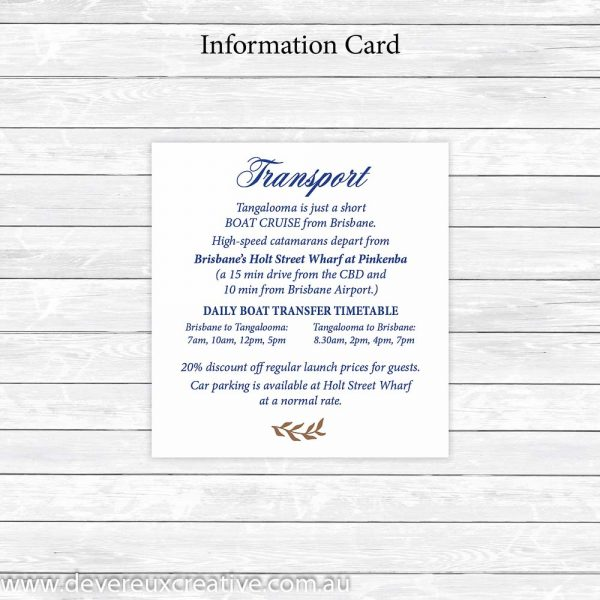 navy and gold information card