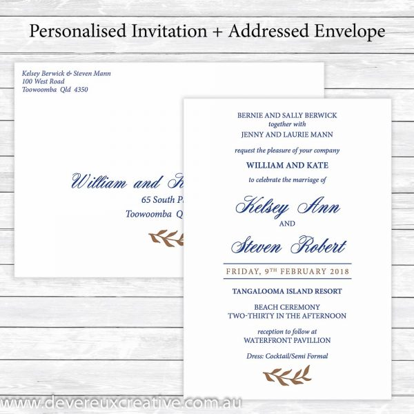 navy and gold wedding invitation personalised