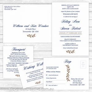 navy and gold wedding invitation package