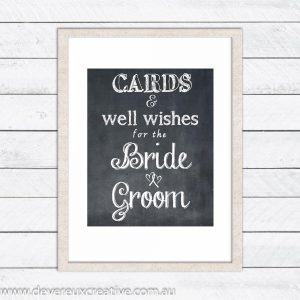 cards and well wishes chalkboard wedding sign
