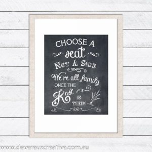 choose a seat chalkboard wedding sign