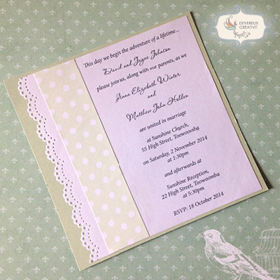 modern wedding invitation with paper lace