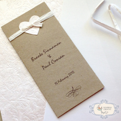 Vintage wedding invitation with and heart