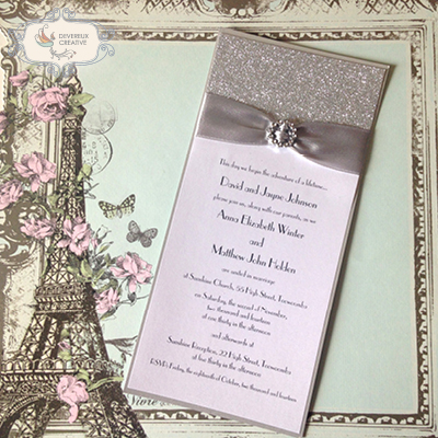 Modern wedding invitation with glitter, ribbon and buckle