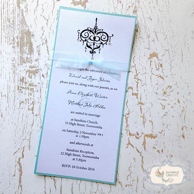 modern wedding invitations with chandelier and ribbon
