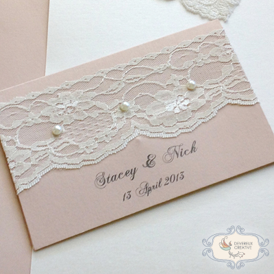 Modern wedding invitation with lace and pearls
