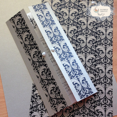 Modern wedding invitation with demask print and pearls