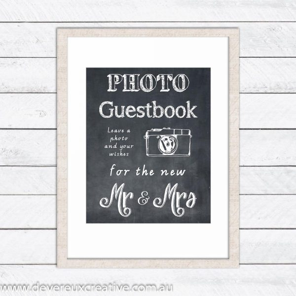photo guestbook chalkboard wedding sign