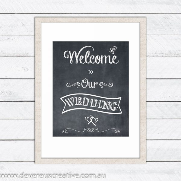 chalkboard welcome to our wedding sign