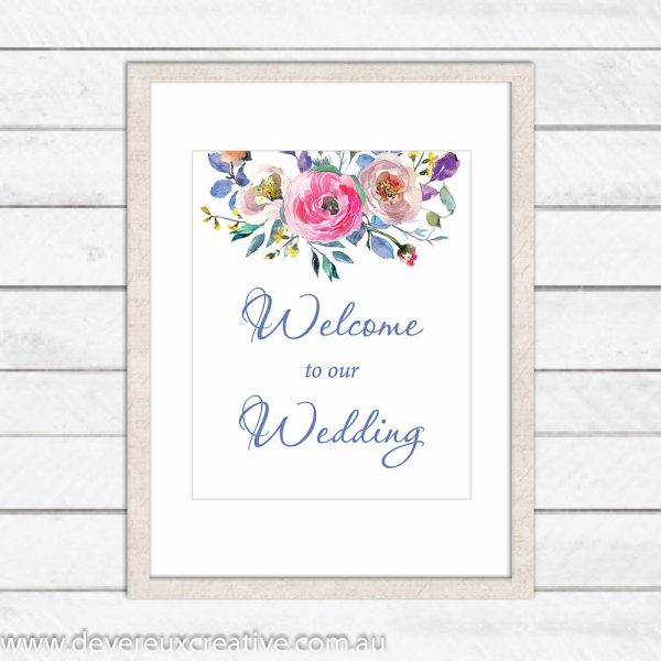 blue floral welcome to our wedding sign