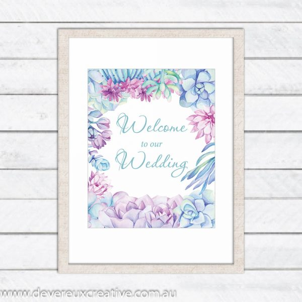 blue and purple border welcome to our wedding sign
