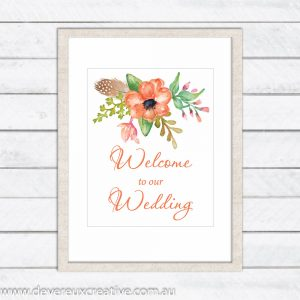 coral floral welcome to our wedding sign