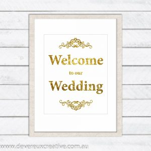gold (faux) glitter welcome to our wedding sign