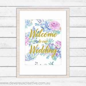 floral and gold welcome to our wedding sign