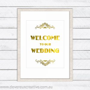 gold (faux) foil welcome to our wedding sign