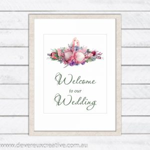 australian native floral with galahs welcome to our wedding sign