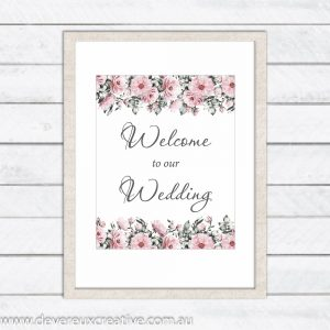 pink peony welcome to our wedding sign