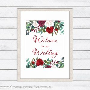red rose welcome to our wedding sign