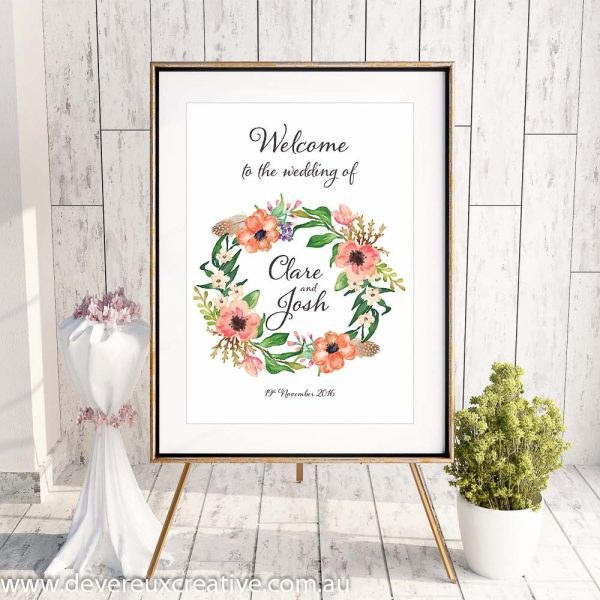 custom floral wreath design example welcome to our wedding sign