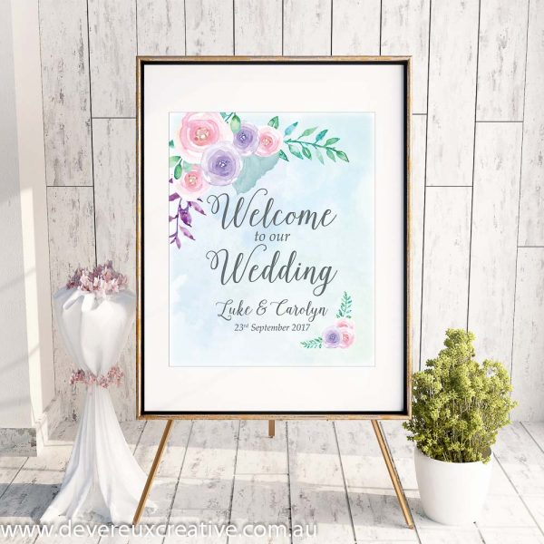 custom floral watercolour design example welcome to our wedding sign