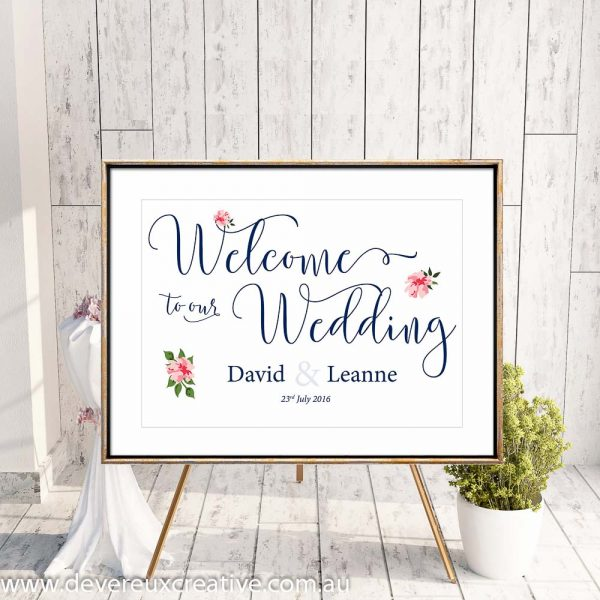 custom floral design example welcome to our wedding sign