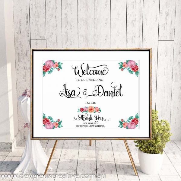 custom rose floral design example welcome to our wedding sign