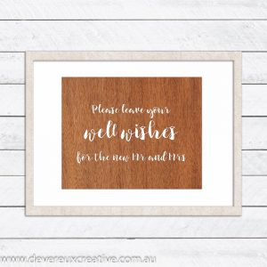 wooden well wishes mr and mrs wedding sign