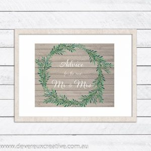 wooden wreath advice wedding sign