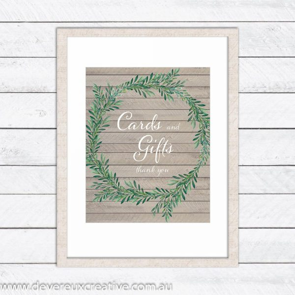 wooden wreath cards and gifts wedding sign