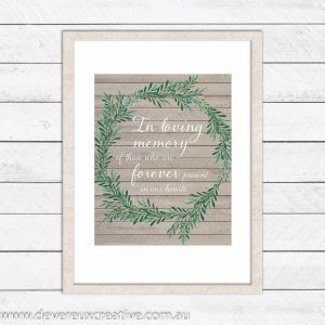 wooden wreath in loving memory wedding sign