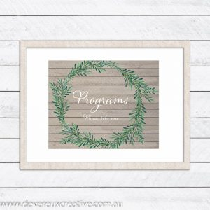 wooden wreath programs wedding sign