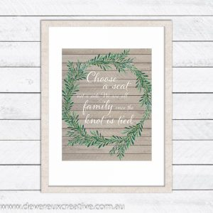 wooden wreath choose a seat wedding sign