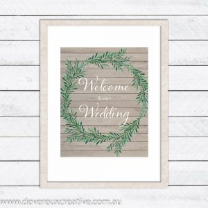 wooden wreath welcome wedding sign