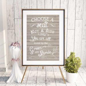 wooden choose a seat wedding sign