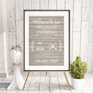 wooden unplugged wedding sign