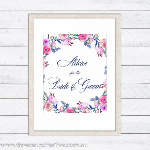 floral wreath advise wedding sign