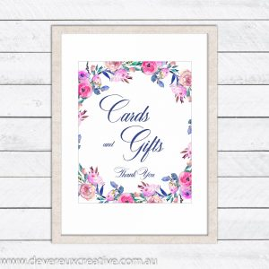 floral wreath cards and gifts wedding sign