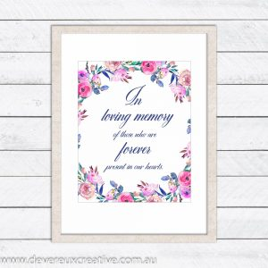 floral wreath in loving memory wedding sign