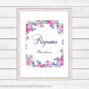 floral wreath program wedding sign