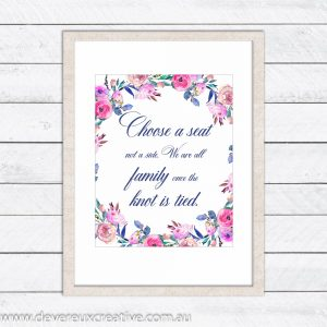floral wreath choose a seat wedding sign