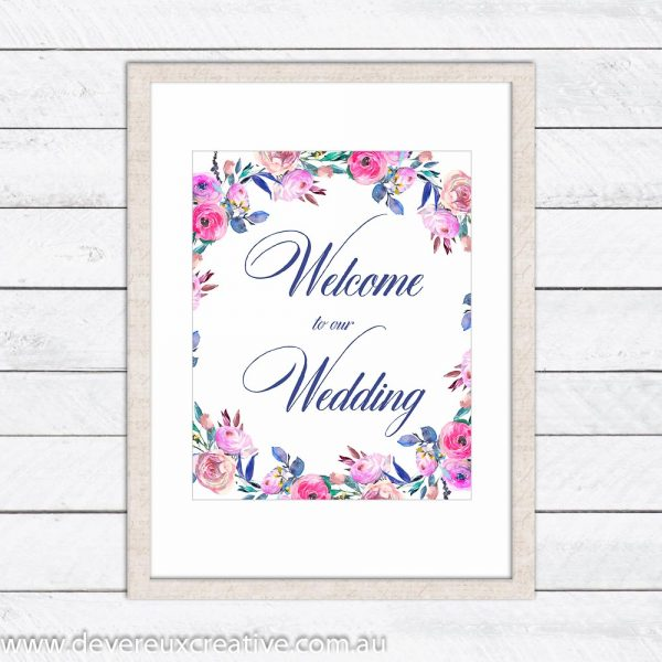floral wreath welcome wedding sign